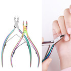 Nail Cuticle Nipper Laser Color Stainless Steel Elastic Double Arc Groove Cut Nail Dead Skin Remover Manicure Tool