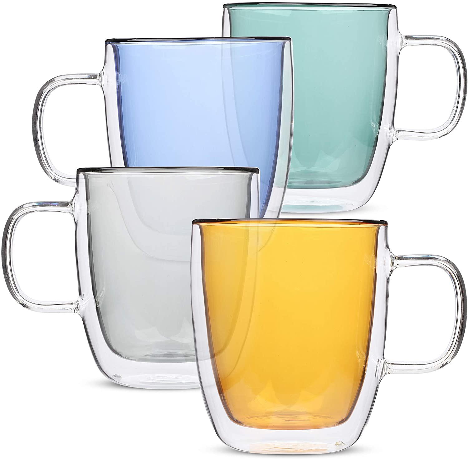 2021 European fashion color double wall glass coffee cup with handle on coffee shop