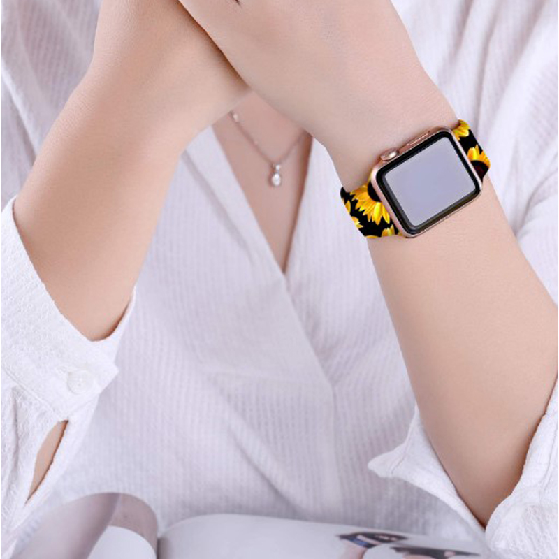 double nail Silicone Strap for apple watch band Fadeless Pattern Printed Bands for iWatch Band Strap Series 6/5/4/3/2/1