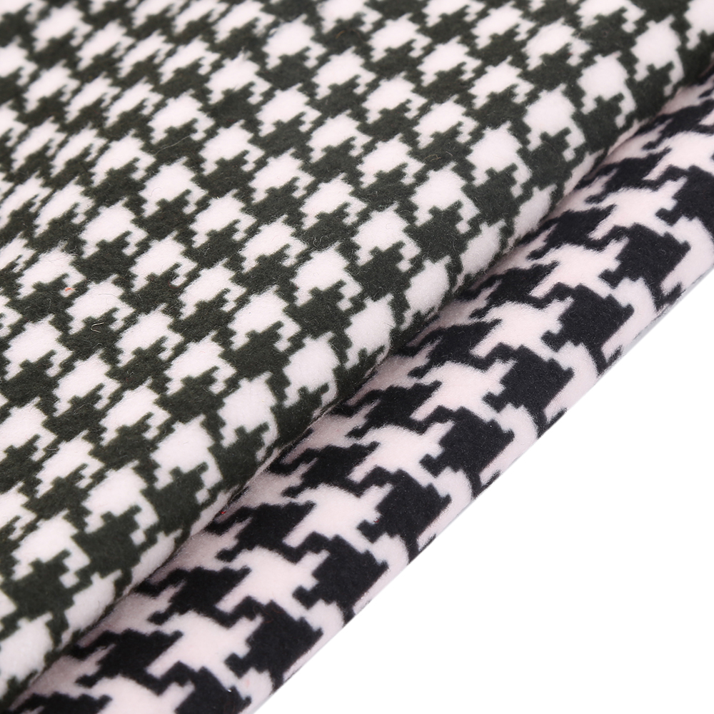 New arrival classical houndstooth grid woolen fabric very soft print fabric