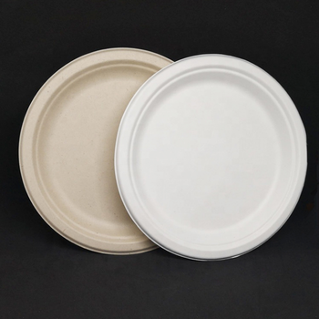 Disposable Biodegradable Sugarcane Pulp Dinner Plate Round
