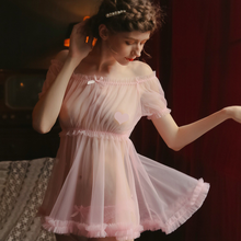 Ультратонкая газовая ночная рубашка, соблазнительное белье, Лолита, каваи, шифоновое платье, женская Милая Ночная рубашка принцессы, одежда...(Китай)