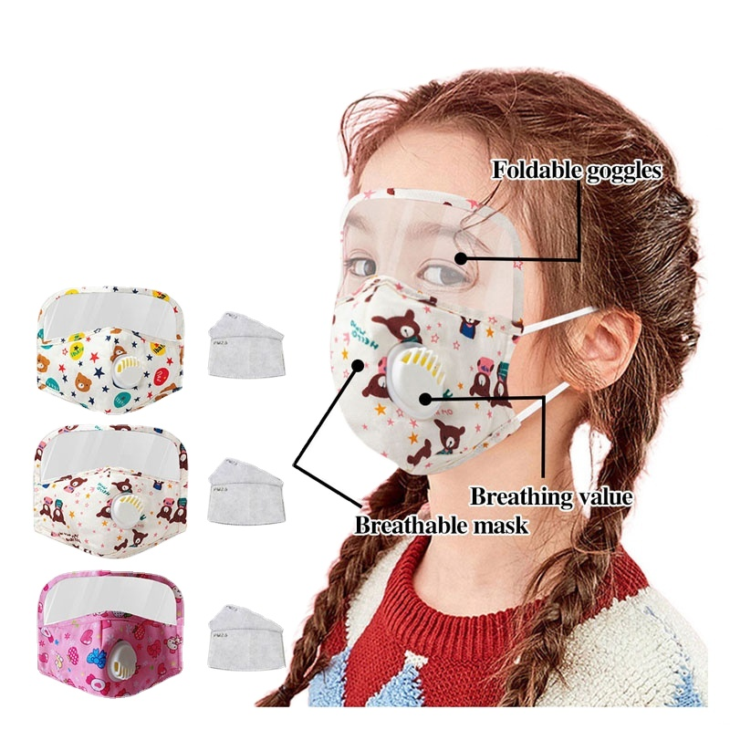 Custom Children Maskes With Valve Eyeshield Design Reusable Anti Pollution Anti Water Cotton Face Party Maskes For Kids child
