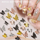 Nail 3d Nail Art KB 3D Gold Sliver Black Rose Gold Metal Butterfly Nail Alloy For Nail Art Decoration