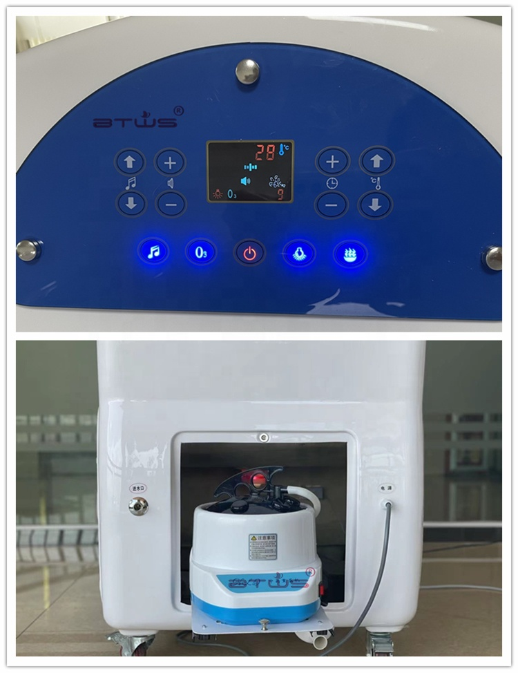 2021 Hot Selling Ozone Wet Steam Sauna Dome Seat Therapy Sauna Massage Spa Capsule with Germanium Stone Photon Light