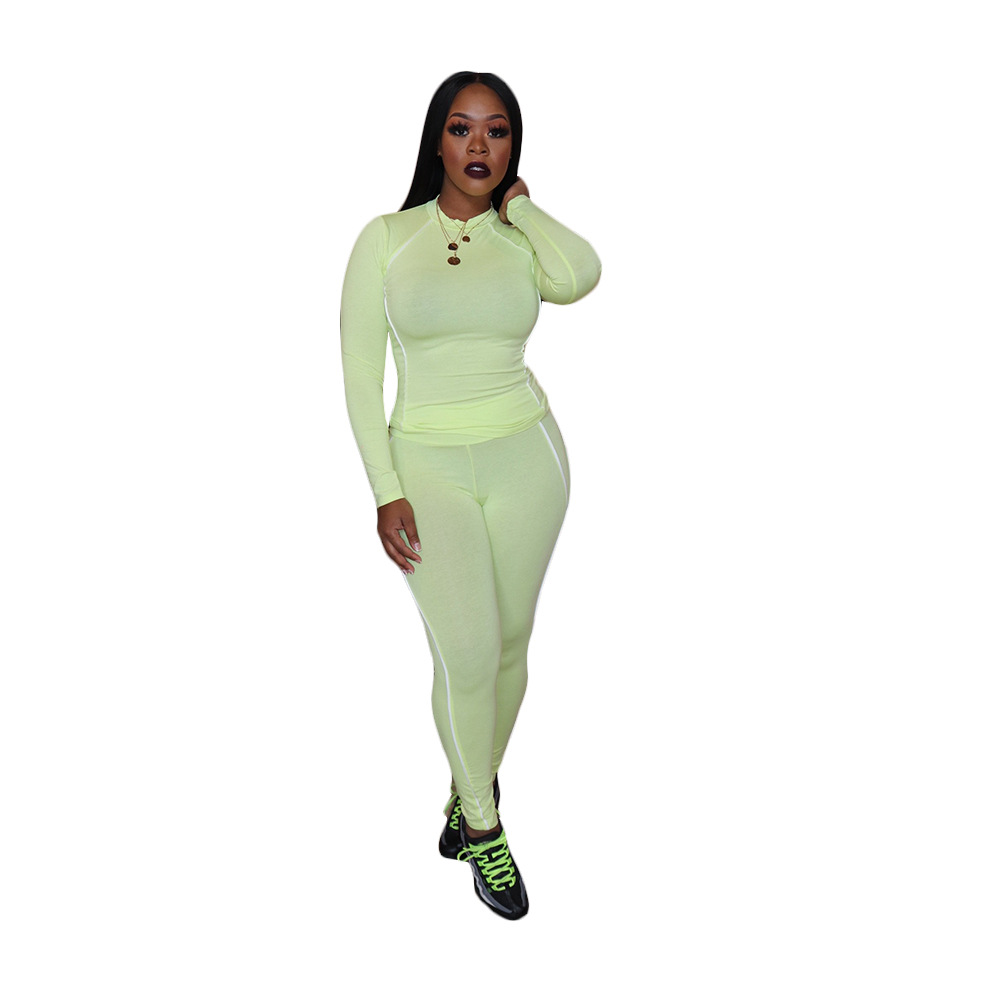 Женский спортивный костюм с отделкой, повседневный пуловер с длинным рукавом, толстовка с капюшоном, топ с брюками-карандашами, комплект из ...(Китай)