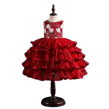 New arrival summer kid frocks for 6 years old sequin princess dress for girl wedding child wear red party dress