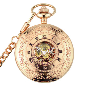 Wholesale Mens Women Steampunk Mechanical Skeleton Big Size Hand Winding Pocket Watch Fob for Men