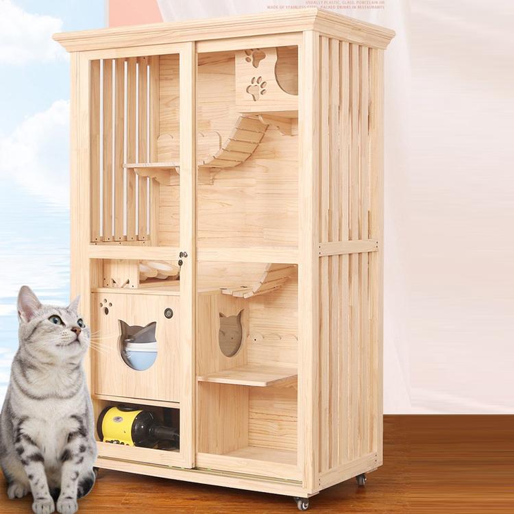 Wooden Cat Villa Luxury Pet Cat House Multi Storey Household Indoor Cat Nest Buy Pet House Wood Pet House Luxury Pet Indoor Dog House Product On Alibaba Com