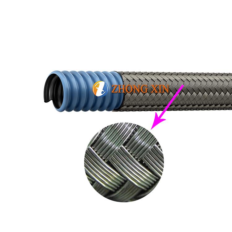 Гибкий Антистатический шланг из нержавеющей стали 304 с покрытием из ПТФЭ, устойчивый к коррозии