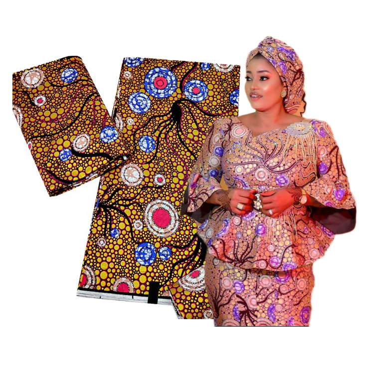 Queency 6 yards super good quality clothes wax gold fabric silver ankara