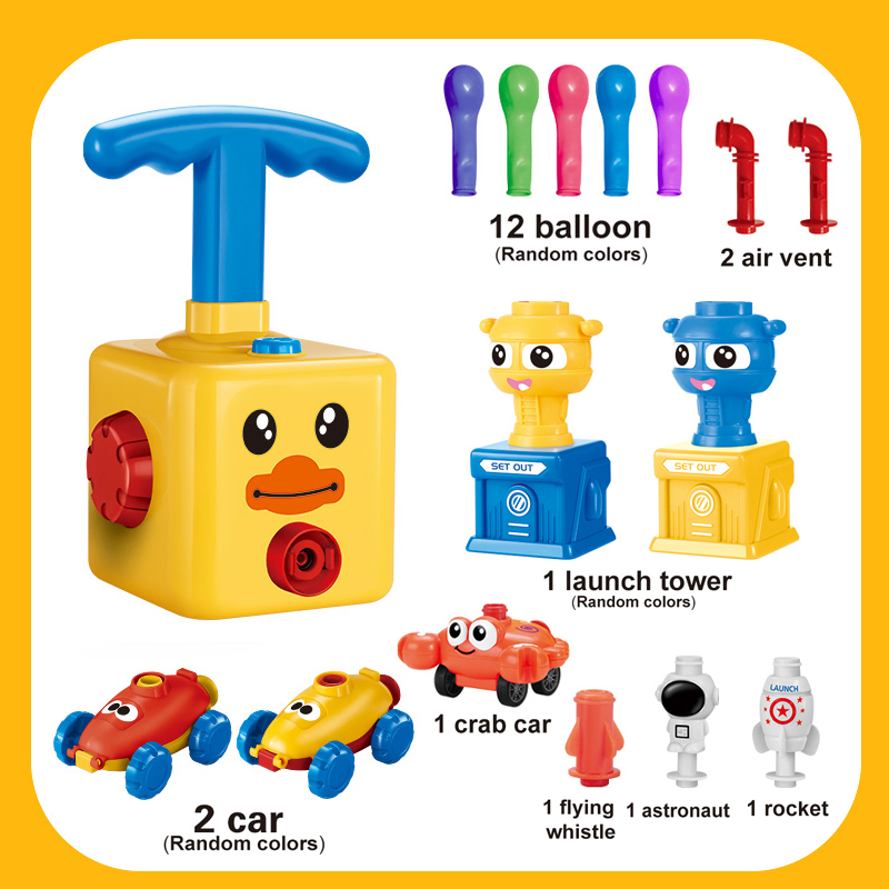 Balloon Racers Inflatable STEM Balloon Pump Cars Children's Science Toy Balloon Power Car Toy Set with Pump for Kids