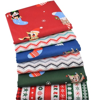 Factory Popular Cat Christmas Series Twill Cotton Fabric For DIY Shirt Cloth Quilting Material