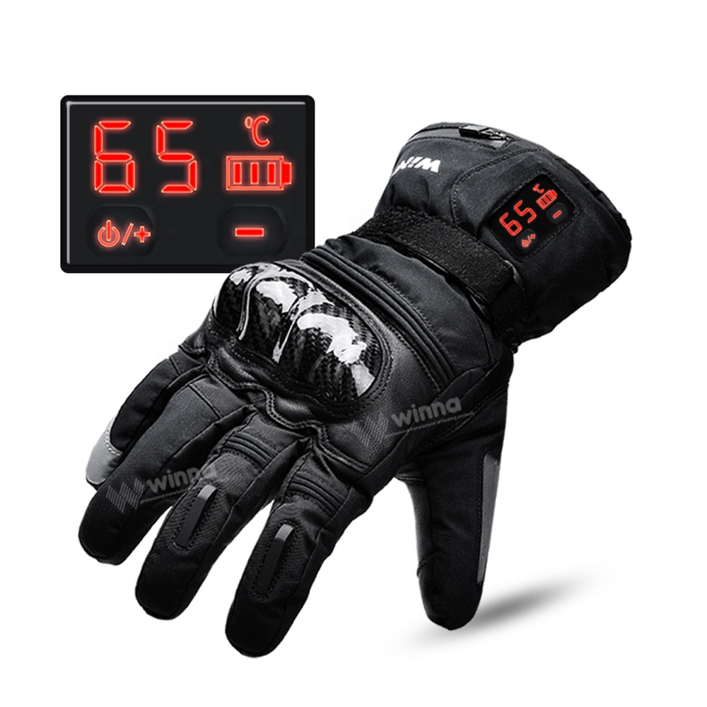 2200 мАч с электрическим подогревом кожаные перчатки зимний со светодиодным цифровым дисплеем водонепроницаемые руки теплее отопление Перчатки для мотоциклистов