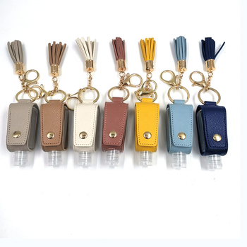 Sample Free PU Leather Portable Leather Hand Liquid Holder instant hand sanitizer Pouch Custom Hand Gel Bag Holder