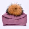 Purple with fur pom pom