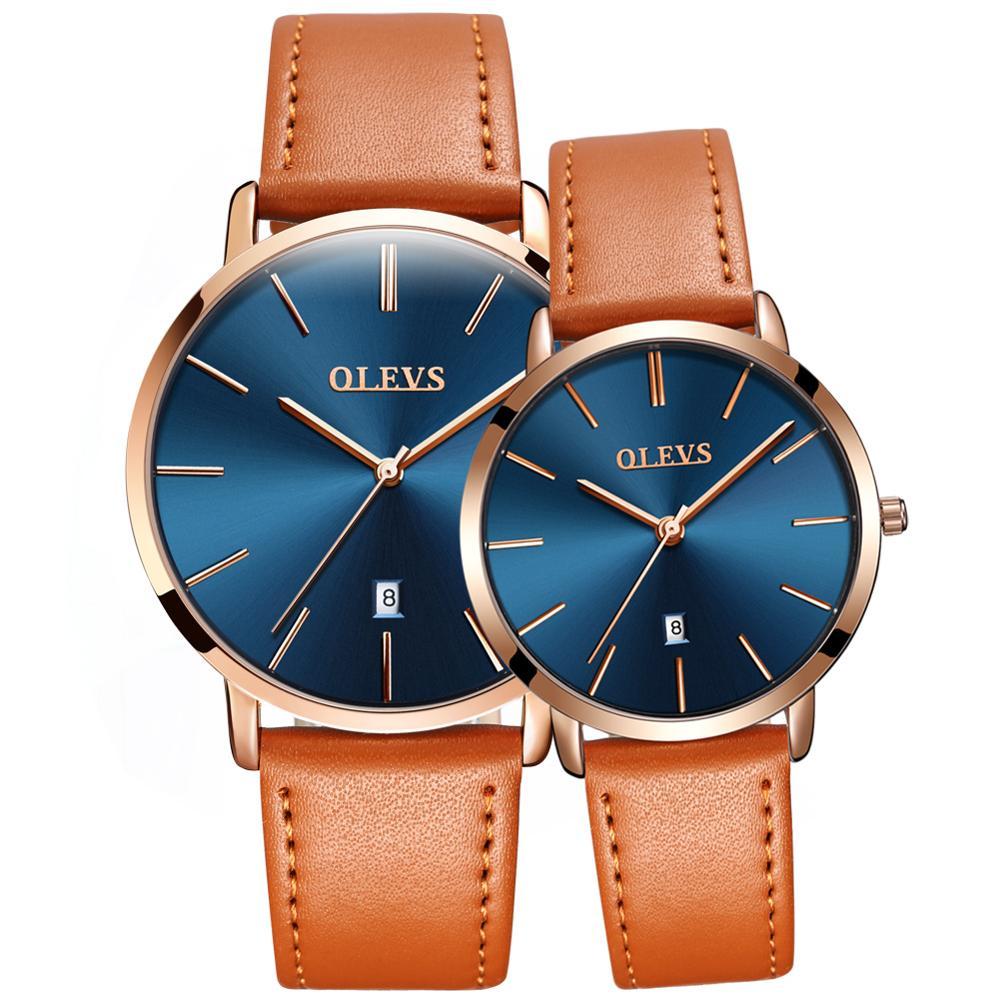 Couple Hand Watch Water Resistant Auto Date Quartz  - 1MRK.COM