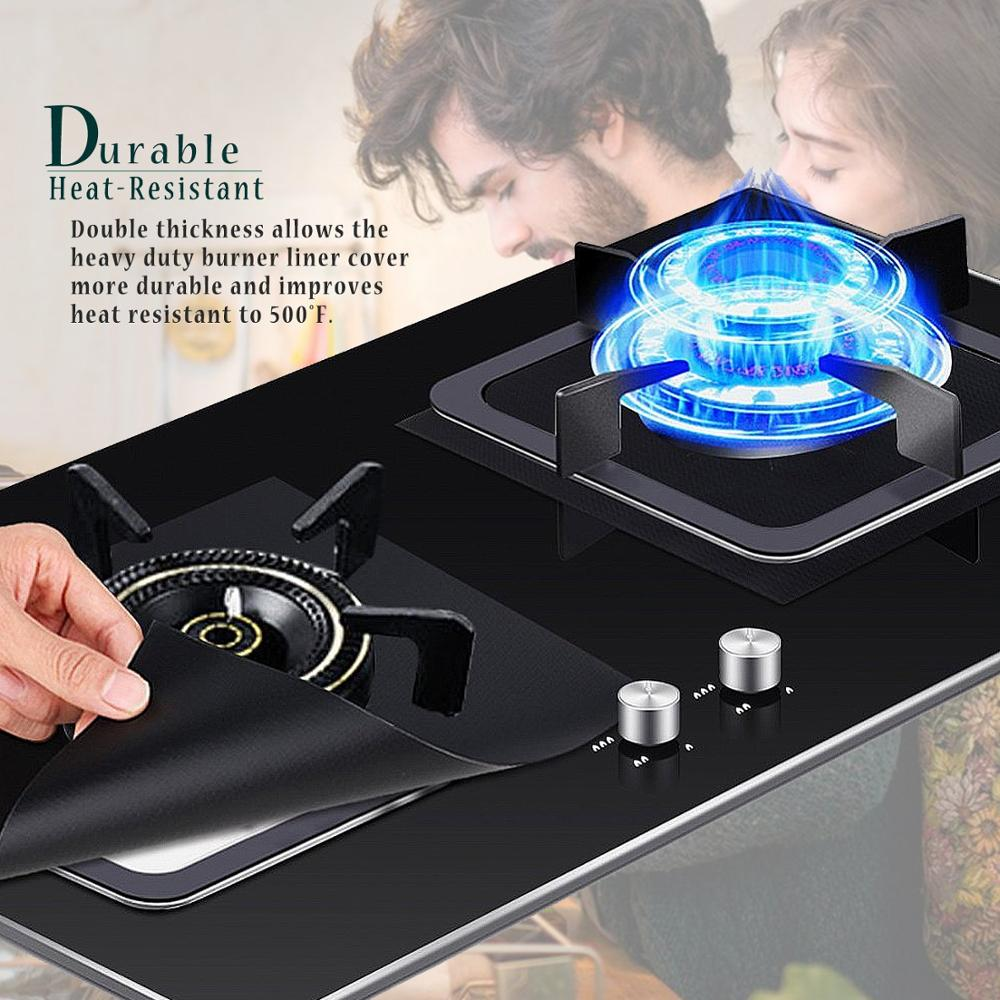 2020 New Products Fireproof Easy To Clean Reusable Set Of 4 Black Stovetop Burner Protector