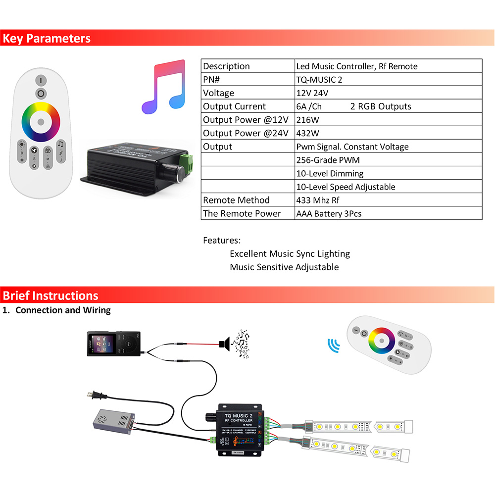 china suppliers hot sales christmas light 12v led rgb strip music 2 sound audio rf led remote controller