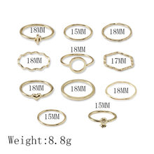 Простые волнистые глянцевые кольца любовь ананас полые круглые ins ветер 11-шт кольцо личности девушка ювелирные изделия(Китай)
