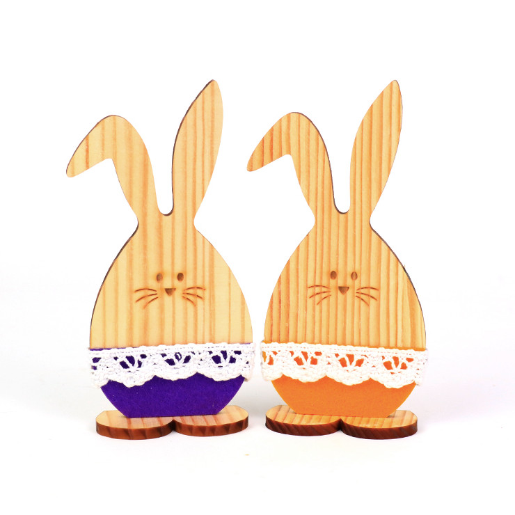 Unfinished Cute Set Easter Rabbits of 6 Pcs Manufacture In China