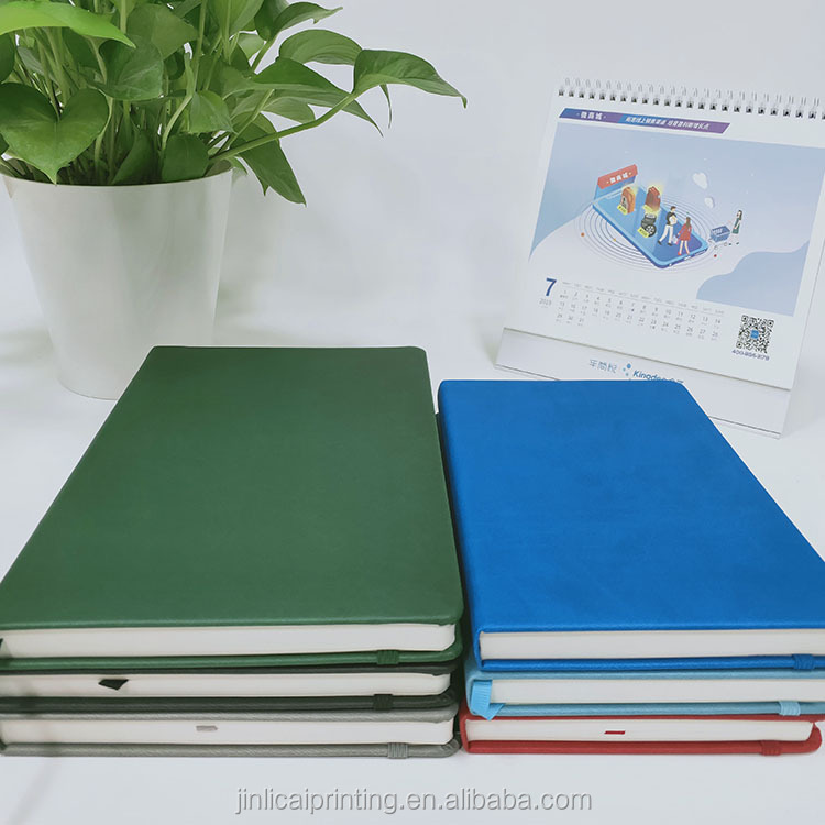 Soft leather cover journal planner notebook with logo printing