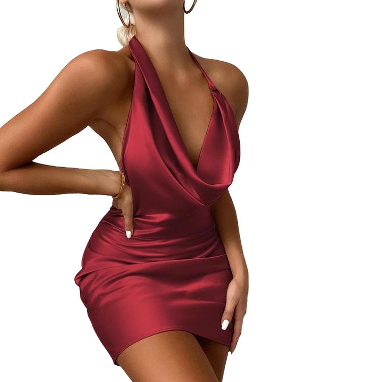 Новое поступление Рождественская стильная женская одежда без рукавов Мини пикантное облегающее Повседневное платье с воротником-хомутом атласное вечернее платье с рюшами