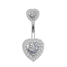 1 шт., кольцо на пупок для пирсинга в форме сердца, для женщин, пупок, Кристальный циркон, свисающие, Ombligo, шпилька, сексуальное ювелирное издел...(Китай)