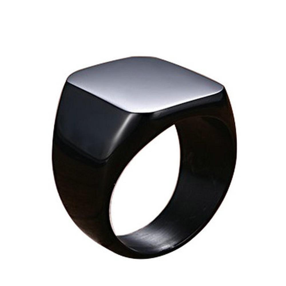 High Polish Blank Smooth Square Custom Logo Stainless Steel Engagement Wedding Jewelry Men Ring Signet