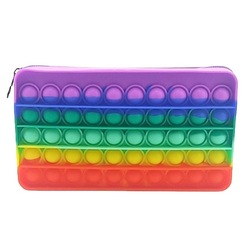Popping Fidget Push  Pencil Pouch Bubble Sensory Fidget Toy Stress Reliever Silicone Stress Reliever Toy Push Pencil Case