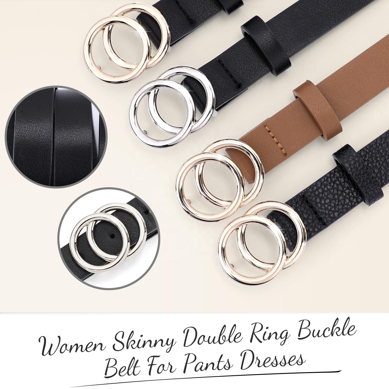 Skinny Leather Belt for Woman Round O Ring Buckle Belt Black Plus Size Jeans Pants Fashion Designer Belt