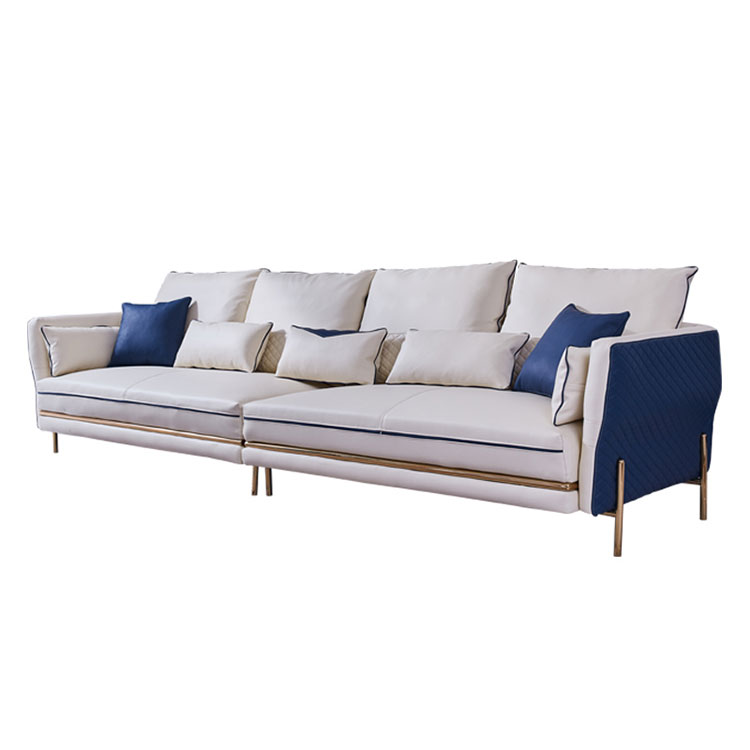 Light luxury leather art sofa post-modern simple living room combination of small family type Hong Kong type   leather small sof