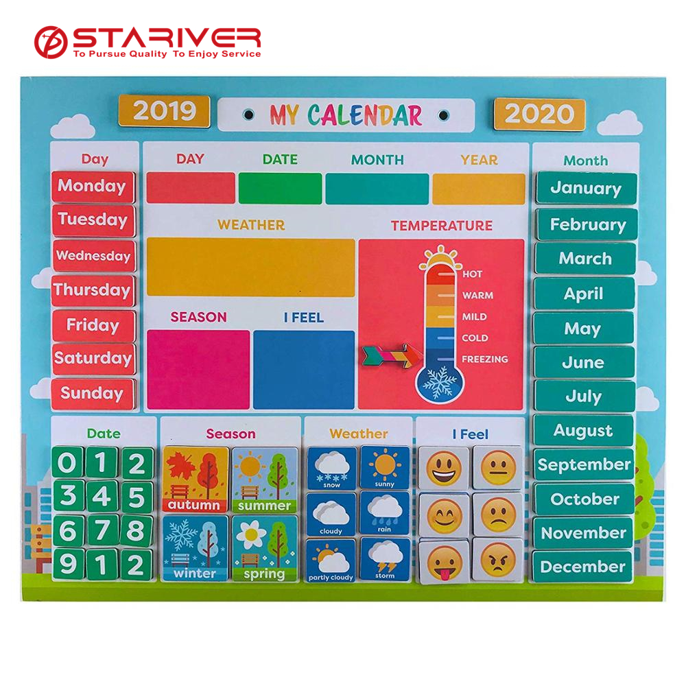 Magnetic calendar for refrigerator Preschool Learning Toys Classroom calendar chore chart