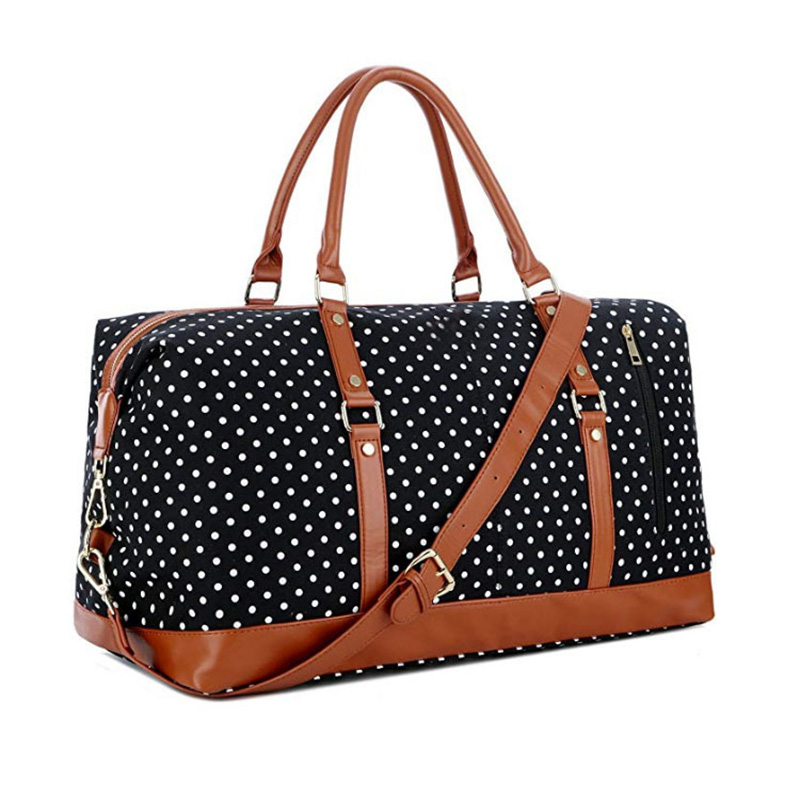 New Style Fashion printed dot Outdoor Weekend overnight Duffel Sports gym Canvas travel bags