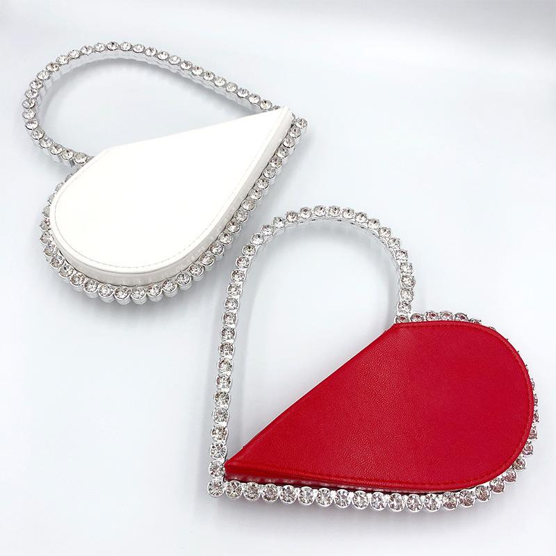2021 ladies diamond clutch rhinestone bag wedding party evening crystal purses handbag bling Heart shape pu purse fancy clutches