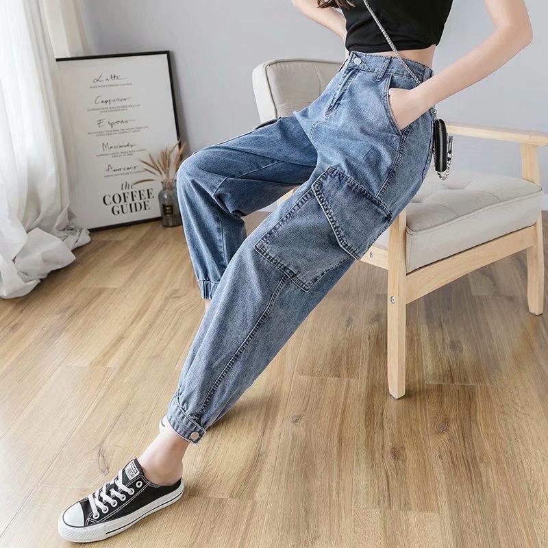 New autumn/winter 2021 Korean version of high waist loose skinny straight leg Haren dad pants cargo jeans women