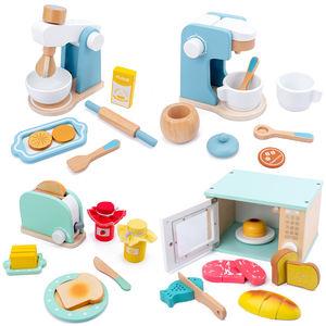 Детские деревянные наборы для ролевых игр, имитация тостеров, Хлебопечка, кофеварка, блендер, набор для выпечки, игра, кухня, игрушки из реальной жизни
