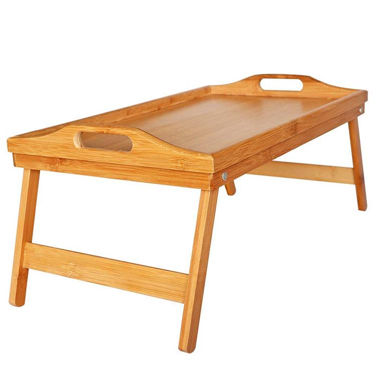 Стол компьютерный из натурального бамбука, сервировочный столик для завтрака, поднос для ноутбука, рабочей станции, органайзер для torage с ручками, выдвижные ножки