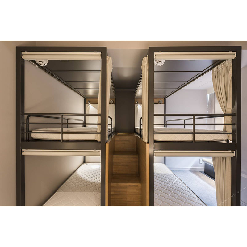 Modern metal hotel adult capsule bunk bed sleeping pod loft bed with storage and cabinets for hostel and hotel