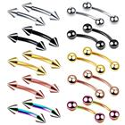 VRIUA Steel Eyebrow Piercing Mixed Colors Curved Barbell Banana Piercings Bijoux Earlets Lip Helix Piercings Body Jewelry 16G