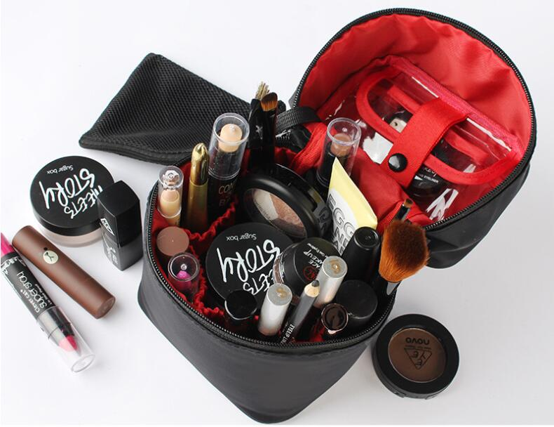 Custom Creative Cylindrical Waterproof Cosmetic Bag Makeup Case Wash Storage Bucket Private Label Travel Toiletry Bag