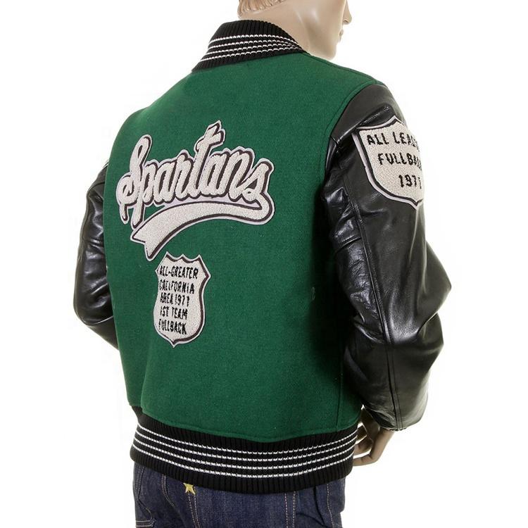 Custom leather sleeve towel embroidered bomber varsity jacket for men
