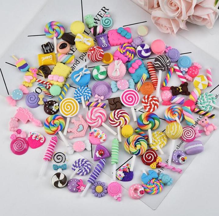 Сделай Сам, полимерная глина, конфеты, Красочные Подвески в виде леденцов, резиновый Радужный брусок и макарУны для украшения телефона, подвеска-слайм