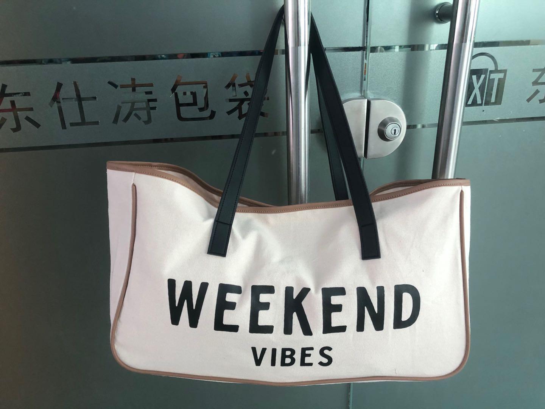 Weekend Canvas Beach Bag, Beach Tote, Carry Bag with pu handle