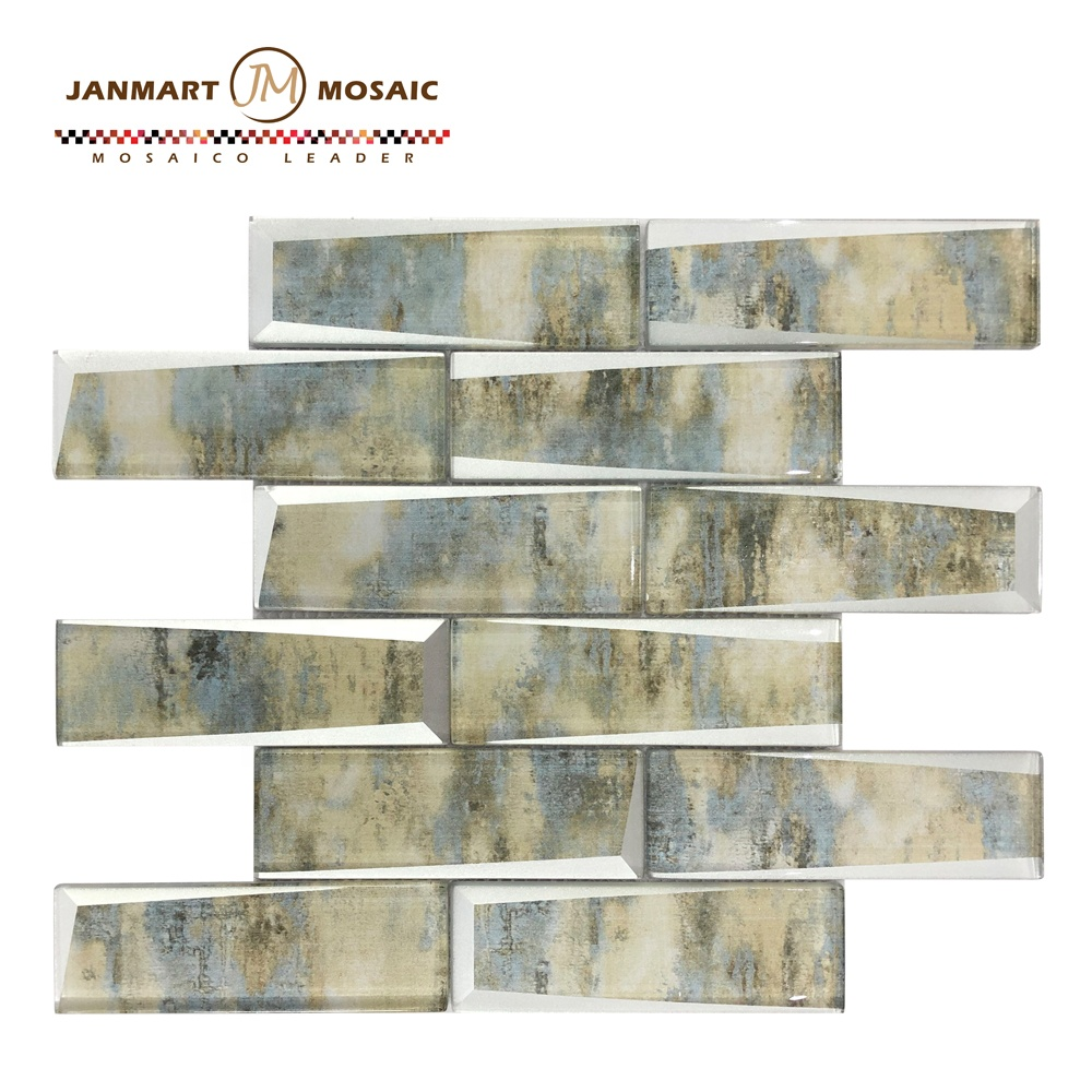 Luxurious Home Decoration Bright Color Bevel Glass White Metal Porcelain Mosaic Mirror Mosaic Tile Brick 3D Wall Tiles Mosaic