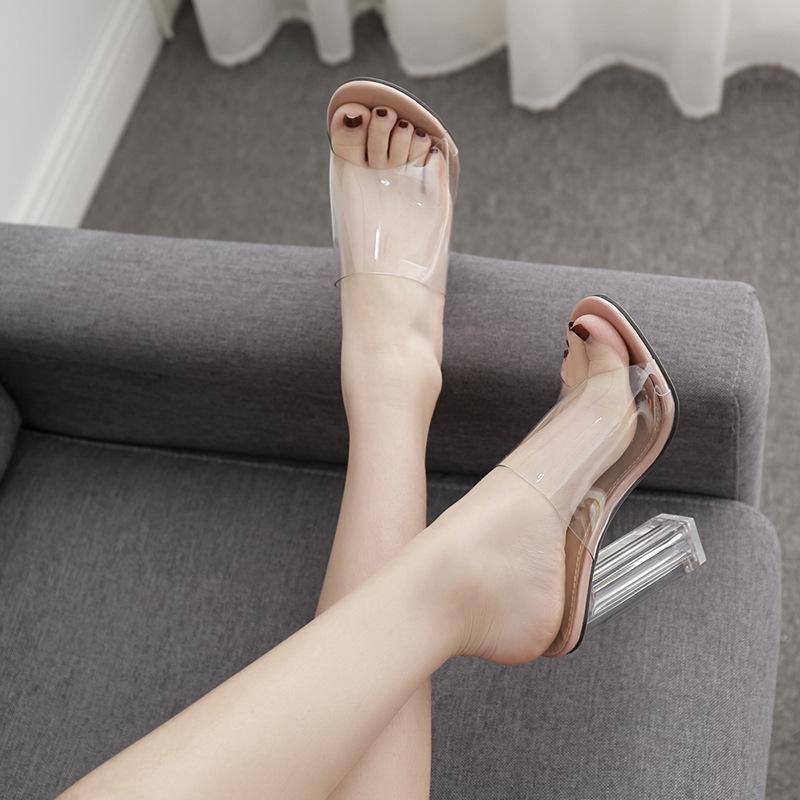 Пикантные сандалии PDEP из прозрачного перспекса на блочном каблуке 12 см, новинка 2019, мюли, женские летние туфли с открытым носком из ПВХ, сланцы, прозрачные каблуки