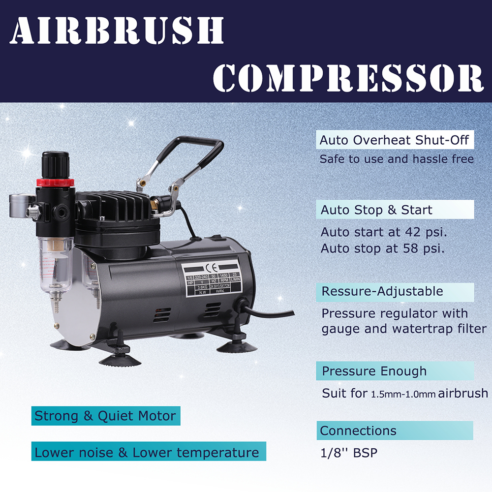 SAGUD gravity feed air brush airbrush mini compressor machine kit spray gun set