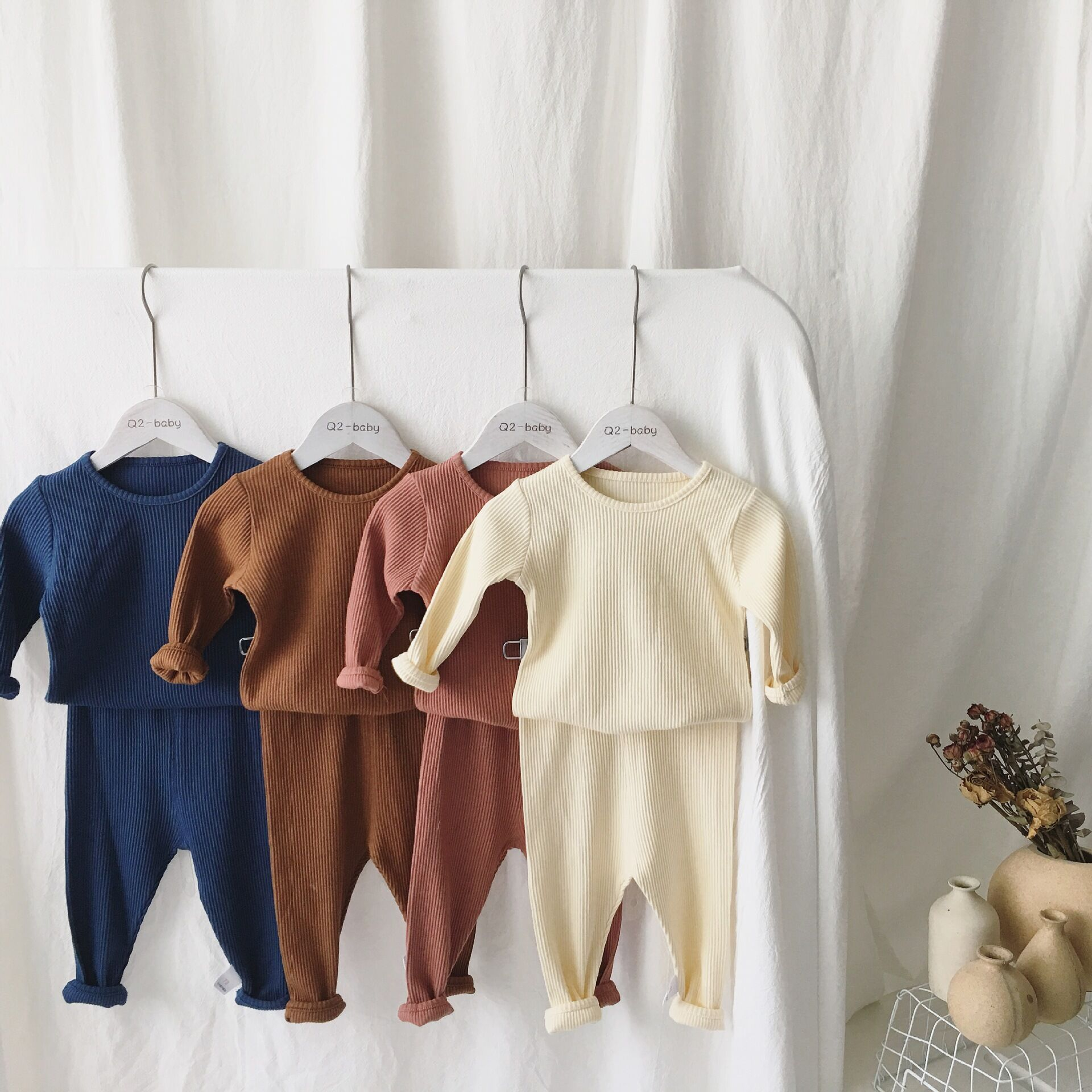 High Quality 7 Pieces Set Newborn Baby Clothes Solid Colour Ribbed Baby  Clothing - Buy Ribbed Baby Clothing,Newborn Baby Clothes,Baby Pajamas  Product
