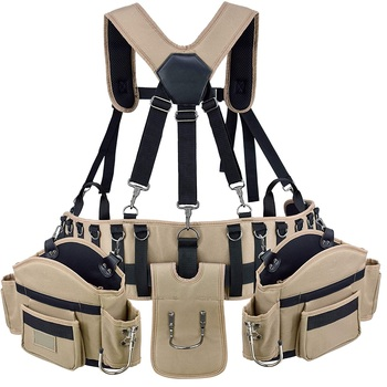 Heavy Duty Carpenters Tool Belt Professional Construction Tool Waist Bag Comfort Rig Tool Belt With Suspenders