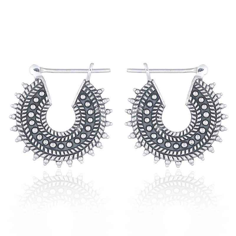 925 Sterling Silver Oxidized Filigree Bali Round Hoop Earrings for Women and